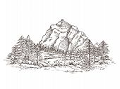 Mountain Landscape Sketch. Nature Doodle Drawing, Valley Panorama. Creative Drawing Hill, Forest And poster