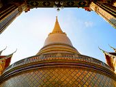 Ancient Architecture Temple Pagoda At Rajabopit Temple In Bangkok, Thailand. poster