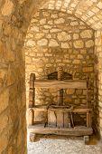 Antique Wooden Wine Press In Winery Cellar, Tokaj Region, Hungary poster