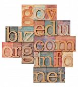 collage of popular internet domain extensions (org, biz, gov, net, info, edu, com) - vintage letterp