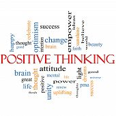 stock photo of pma  - Positive Thinking Word Cloud Concept with great terms such as good pma mental thought life optimism and more - JPG