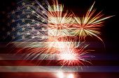 stock photo of firework display  - United States of America USA Flag with Fireworks Background For 4th of July - JPG