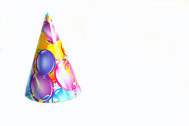 picture of birthday hat  - Birthday hat with balloune printing isolated on a white background - JPG