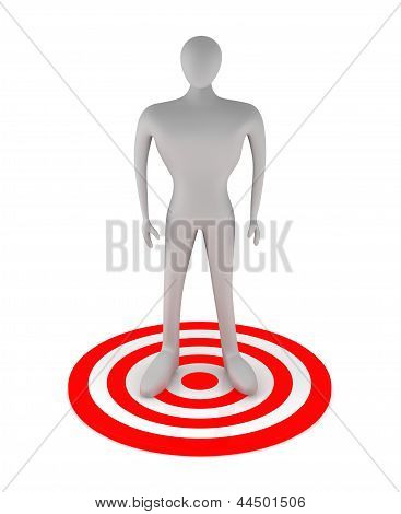 3D Man Standing On The Red Target