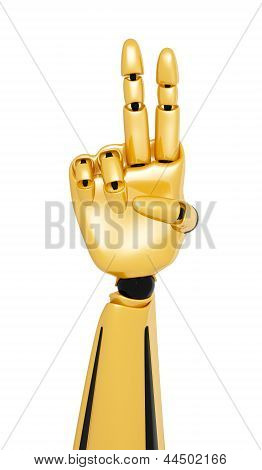 Golden 3D Robotic Hand Showing Number Two