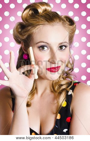 Amercian Pinup Girl With Laundry Peg