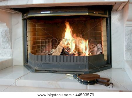 Burning fireplace and bellows