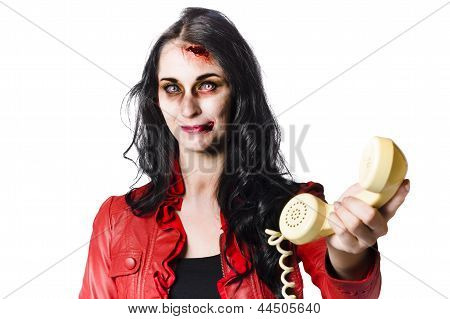 Zombie Girl Cold Calling With Dead Phone