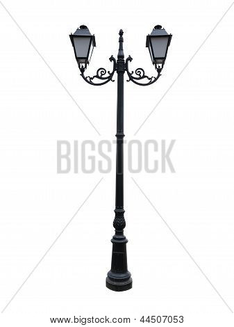 Street Lamppost With Two Lamps Isolated On White