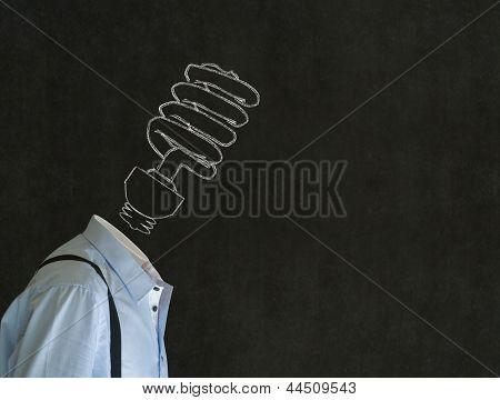 Bright Environmental Idea Man With Chalk Lightbulb Head