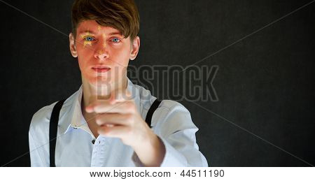 China Needs You Chinese Flag On Face Man On Blackboard Background