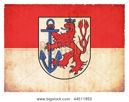 Grunge Flag Of Duesseldorf (north Rhine-westphalia, Germany)