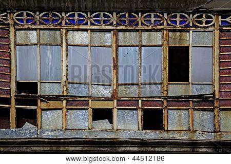old broken glass windows