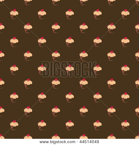 Seamless vector pattern with big sweet muffin cupcakes on chocolate dark brown background