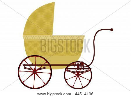 Wicker Baby Carriage.