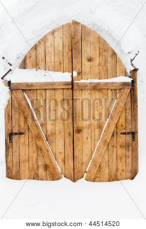 Wooden Door In A Snow Palace