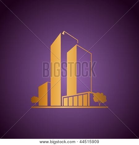 Golden apartments over purple