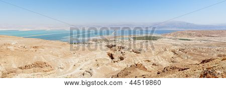 Desert landscape near the Dead Sea at bright noon