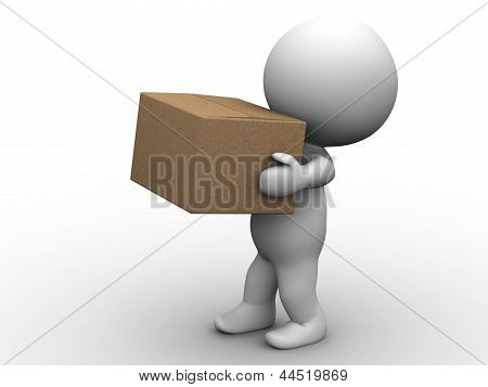 3D Man Carrying Box