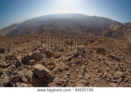 Fisheye view of the desert canyon in the Small Crater (Makhtesh Katan) in Negev desert Israel