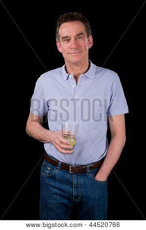 Handsome Smiling Middle Age Man Holding Drink