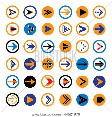 Flache abstrakte Pfeil im Kreise Icons, Symbole Vector Illustration