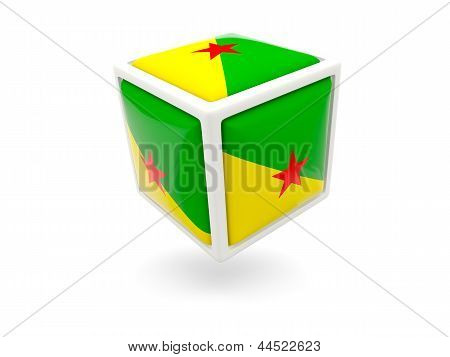 Flag Of French Guiana. Cube Icon