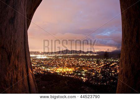 Nighttime suburban view from a mountaintop