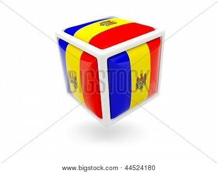 Flag Of Moldova. Cube Icon