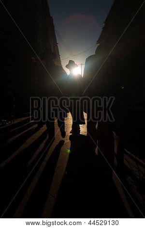 Silhouette Shadows Tibetan Barkhor Lhasa