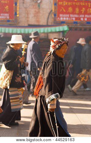 Tibetan Woman Pilgrim Jokhang Temple Barkhor Side