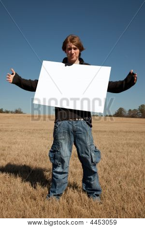 Young Man Holding Blank Announcement
