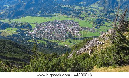 Oberstdorf From Hiking Trail Bavaria Germany