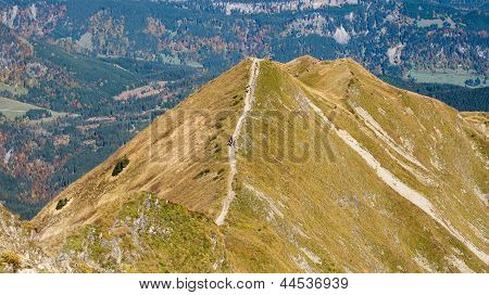 Trekking On A Ridge In The Allgaeu
