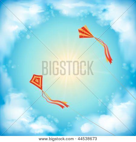Sky Vector Design, White Clouds, Sun, Flying Kites
