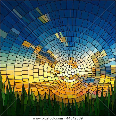 Vector Illustration Of Sunset In Grass.