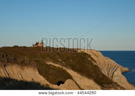 Mohegan Bluffs And The Southeast Lighthouse On Block Island, Ri