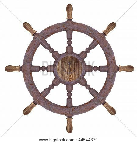 Rusty Nautical Wheel Isolated On White
