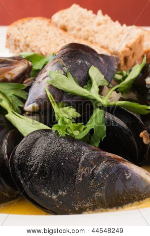 Fresh Mussels In White Wine.