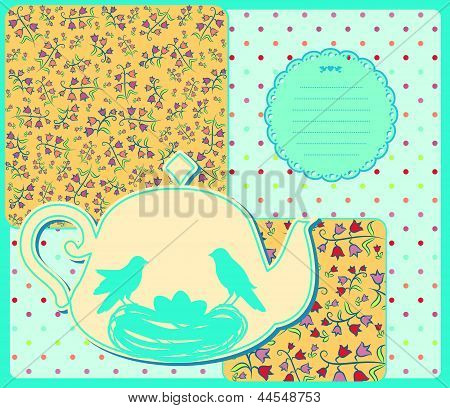 Vintage ceramic tea pot with birds. Vector