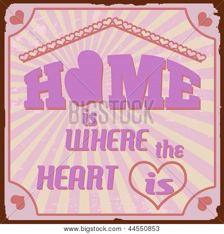 Home Is Where The Heart Is Vintage Poster