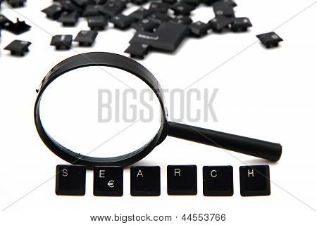 Search (keyboard Keys) And Magnify Glass