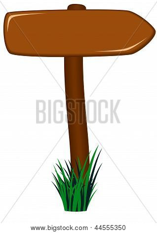 Pt-wooden Road Sign As Arrow In Grass