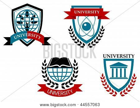 Set of university and education emblems