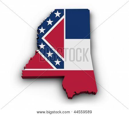 Mississippi Flag Map Shape