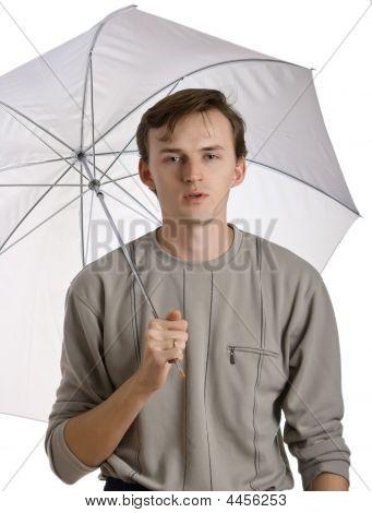 Men Under Umbrella
