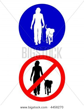 Traffic Signs For Walking With A Dog