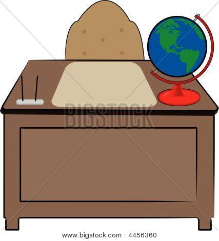 Desk With Globe.