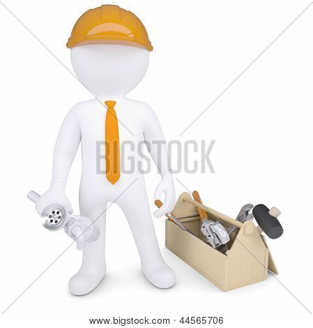 Plumber with tools and siphon