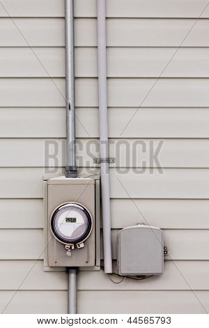 Smart grid power supply meter and phone line drop